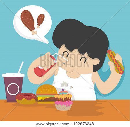 Fat man eating  concept vector eps .10 Illustration