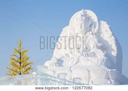 Harbin,China 01/20/2016 Guanyin the goddess of fertility as a snow sculpture at the ice festival on sun island