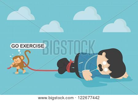 Monkey force obese people to exercise Exhaustion from exercise