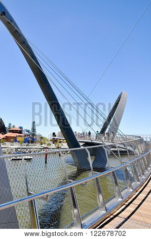 PERTH,WA,AUSTRALIA-FEBRUARY 13,2016: The Elizabeth Quay suspension pedestrian bridge over the artificial inlet on the Swan River in Perth, Western Australia.