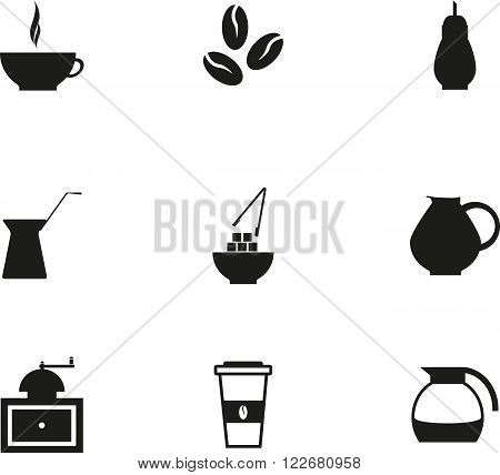 Abstract set of black graphic coffe icon