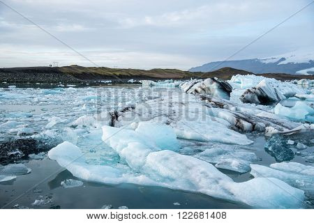 Iceberg in Jokulsarlon glacier lagoon in Iceland. Icebergs originating from the Vatnajokull the biggest glacier in Europe