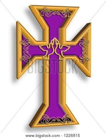 Gold And Purple Cross With Peace Doves