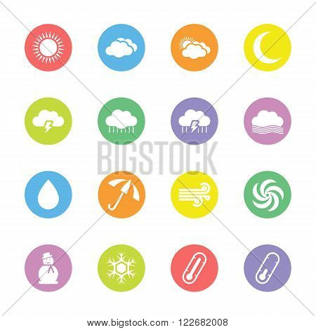 colorful flat weather forecast icon set on circle for web design user interface (UI) infographic and mobile application (apps)