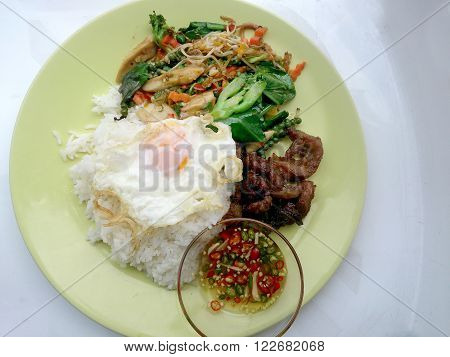 Fried Herbal Vegetables & Fried Pock & Fired Egg With Rice