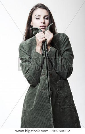 Attractive Girl In Corduroy Coat