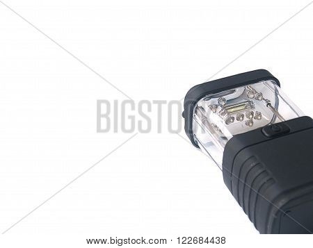 black LED flashlight or torch on white isolated background 2