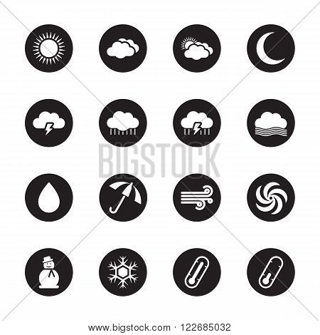black flat weather forecast icon set on circle for web design user interface (UI) infographic and mobile application (apps)