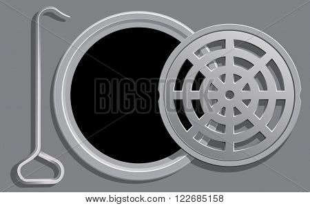 Vector Illustration of an Open Manhole Cover and a Hook used to open it.