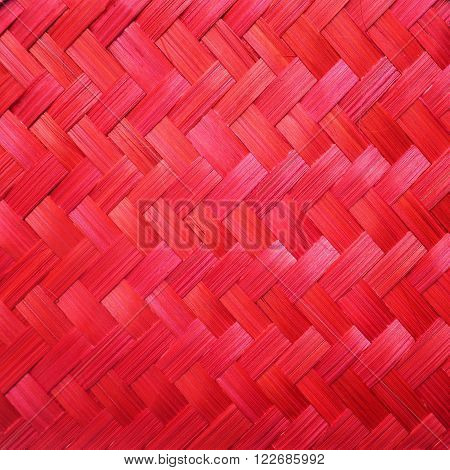 Close up red traditional rattan pattern for weaving background