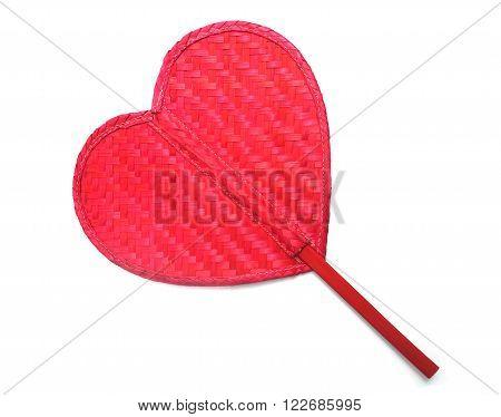 Close up red fan rattan pattern heart shape