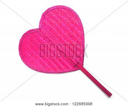 Close up pink fan rattan pattern heart shape