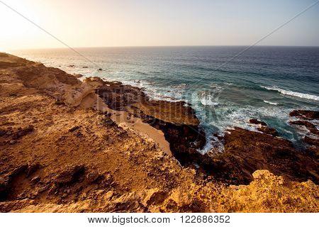 Sand coast near La Pared village on the south western part of Fuerteventura island