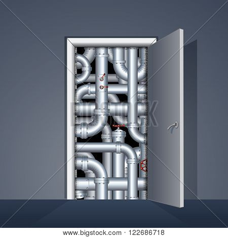 Open Door to Boiler Room. Ready for Your Text and Design.