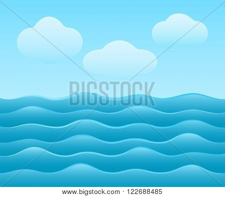 Abstract simple blue sea vector background with clouds.