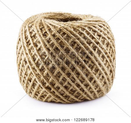 Skein of jute twine isolated on white background. Clipping Path