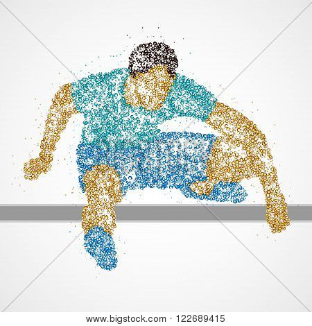 Abstract athlete jumping over the barrier. Photo illustration.