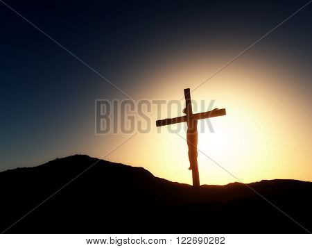 3D render of a Good Friday landscape with Jesus on the cross