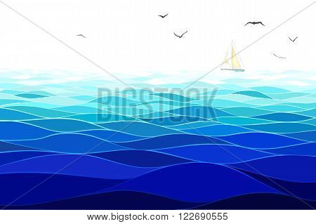 Sea background made in vector. Horizontal pattern. Imitation of watercolor.