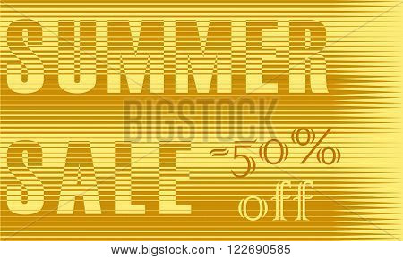 Summer Sale Inscription. Striped Yellow Letters. Vector Illustration