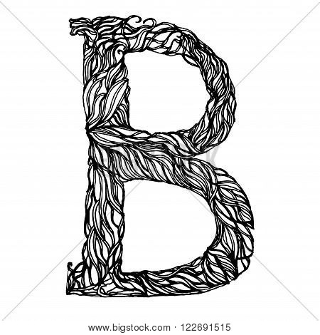 Herbarium font, type. Herbal vector letters. Letter B. Can be used as adult coloring book, coloring page.