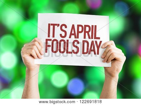 It's April Fools' Day placard with bokeh background