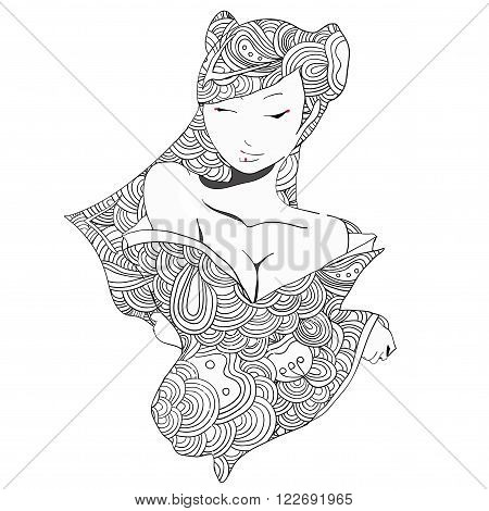Vector young geisha girl in doodle style.  Can be used as adult coloring book,  coloring page, card, invitation.
