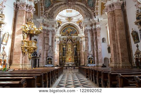STEINGADEN GERMANY - OCTOBER 22: Interior of Wieskirche church show fresco painting on October 22 2013 in Steingaden. Wieskirche is an oval Rococo church designed in the late 1740s by Dominikus Zimmermann.