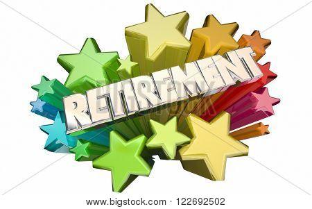 Retirement Farewell Going Away Employment Ending 3d Stars Words