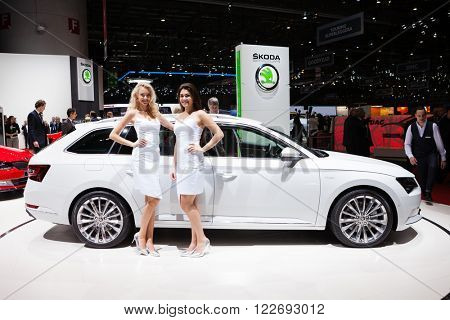 GENEVA, SWITZERLAND - MARCH 1: Geneva Motor Show on March 1, 2016 in Geneva, Skoda Superb Estate, front-side view