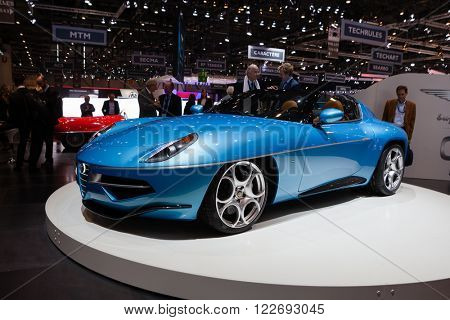 GENEVA, SWITZERLAND - MARCH 1: Geneva Motor Show on March 1, 2016 in Geneva, Touring Superleggera Disco Volante Spyder, front-side view