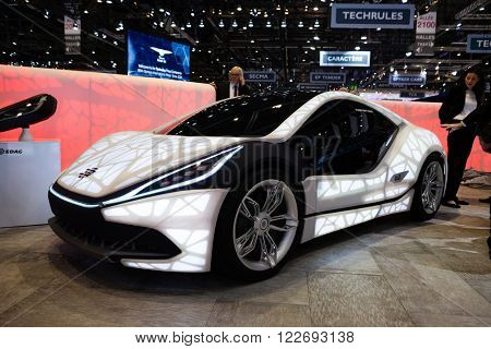 GENEVA, SWITZERLAND - MARCH 1: Geneva Motor Show on March 1, 2016 in Geneva, EDAG 3D-Printed Soulmate Concept, front-side view
