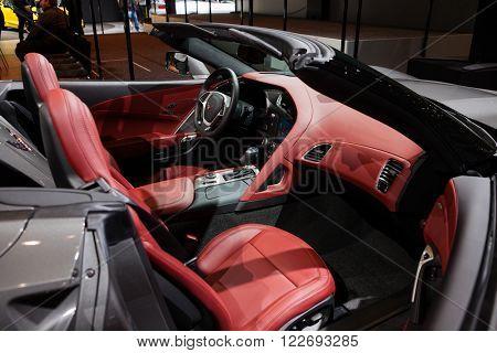 GENEVA, SWITZERLAND - MARCH 1: Geneva Motor Show on March 1, 2016 in Geneva, Chevrolet Corvette, interior view