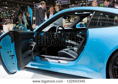 GENEVA, SWITZERLAND - MARCH 1: Geneva Motor Show on March 1, 2016 in Geneva, TechArt Porsche 911 Turbo, interior view