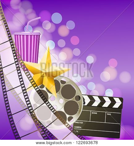 Cinema background with filmstrip golden star cup clapperboard on blurry purple background. vector