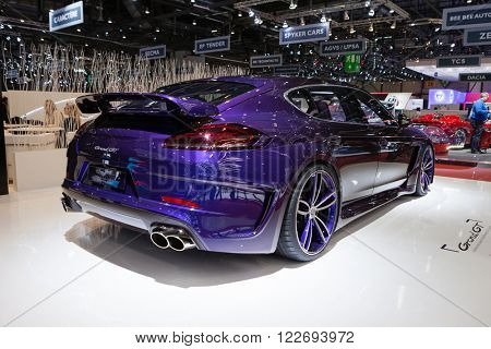 GENEVA, SWITZERLAND - MARCH 1: Geneva Motor Show on March 1, 2016 in Geneva, TechArt Grand GT based on Porsche Panamera Turbo, rear-side view