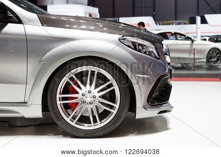GENEVA, SWITZERLAND - MARCH 1: Geneva Motor Show on March 1, 2016 in Geneva, Hamann Mercedes-Benz GLE Coupe, front closeup view