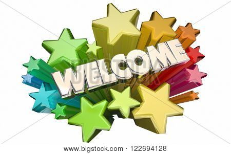 Welcome Stars Greetings Word 3D Animation