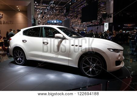 GENEVA, SWITZERLAND - MARCH 1: Geneva Motor Show on March 1, 2016 in Geneva, Maserati Levante, side view
