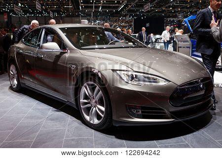 GENEVA, SWITZERLAND - MARCH 1: Geneva Motor Show on March 1, 2016 in Geneva, Tesla Model S, front-side view