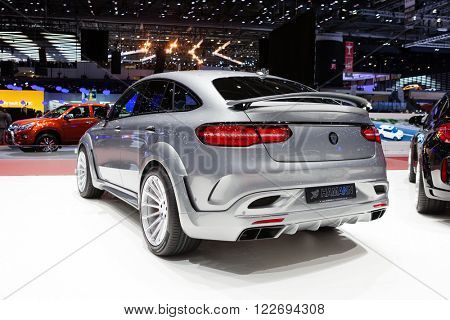 GENEVA, SWITZERLAND - MARCH 1: Geneva Motor Show on March 1, 2016 in Geneva, Hamann Mercedes-Benz GLE Coupe, rear-side view