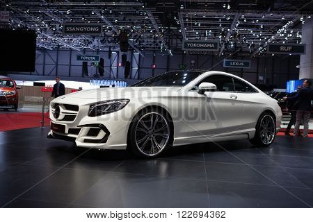 GENEVA, SWITZERLAND - MARCH 1: Geneva Motor Show on March 1, 2016 in Geneva, FAB Design Mercedes Benz S-Class Coupe, side-front view