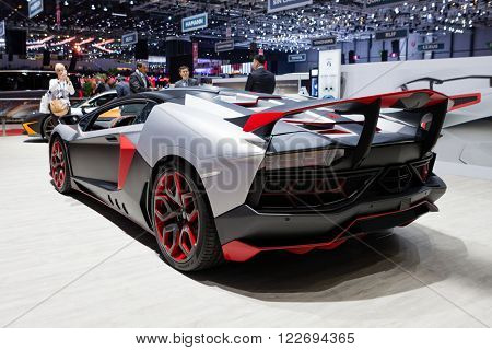 GENEVA, SWITZERLAND - MARCH 1: Geneva Motor Show on March 1, 2016 in Geneva, Nimrod AventiRosso Lamborghini Aventador, rear-side view