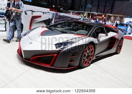 GENEVA, SWITZERLAND - MARCH 1: Geneva Motor Show on March 1, 2016 in Geneva, Nimrod AventiRosso Lamborghini Aventador, side-front view