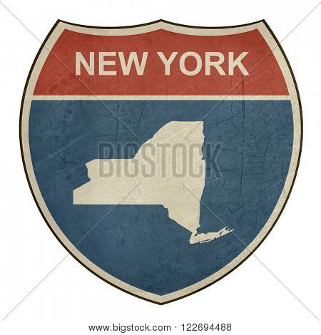 Grunge New York American interstate highway road shield isolated on a white background.