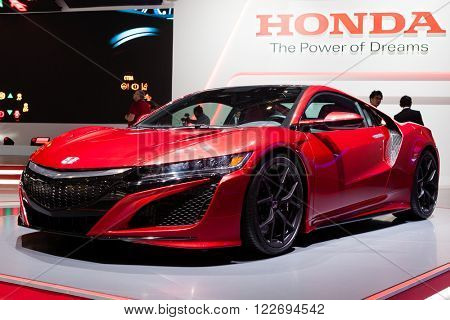 GENEVA, SWITZERLAND - MARCH 1: Geneva Motor Show on March 1, 2016 in Geneva, Honda NSX, front-side view