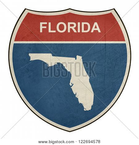Florida American interstate highway road shield isolated on a white background.