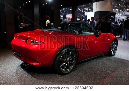 GENEVA, SWITZERLAND - MARCH 1: Geneva Motor Show on March 1, 2016 in Geneva, Mazda MX-5, rear-side view