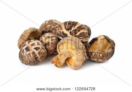 dried Shiitake mushrooms with stem on white background