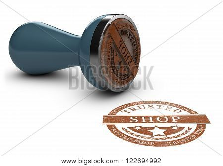 Rubber stamp imprint over white background with the text trusted shop. Concept image for illustration of trustworthy online shopping.